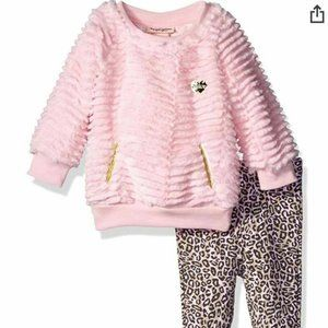 New Juicy Couture Girls Faux Fur Top and Pants set